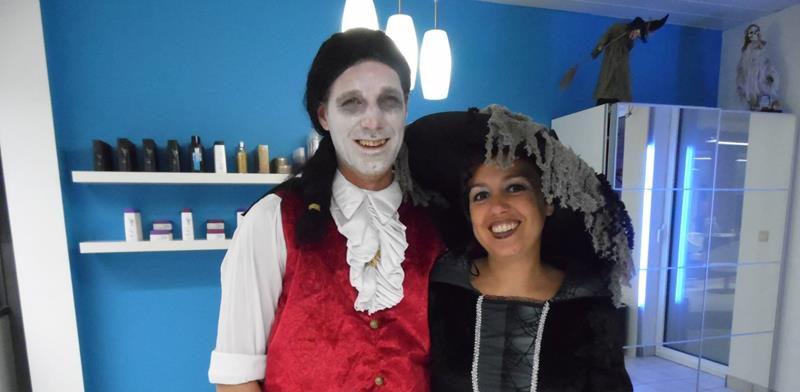 Kapper Dave en kapster Ingrid op Halloween 2013 - Borsbeek (Antwerpen)