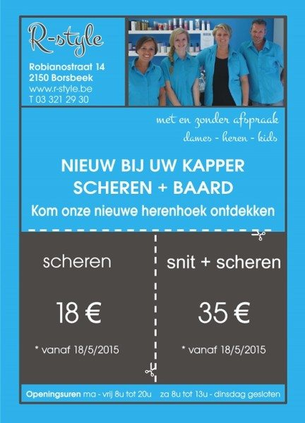 Herenkapper : folder R-style Borsbeek - Antwerpen